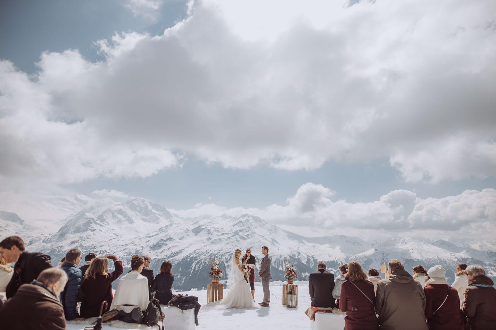 Mariage alpes suisse, mariage hiver, cérémonie laïque neige, mariage valais