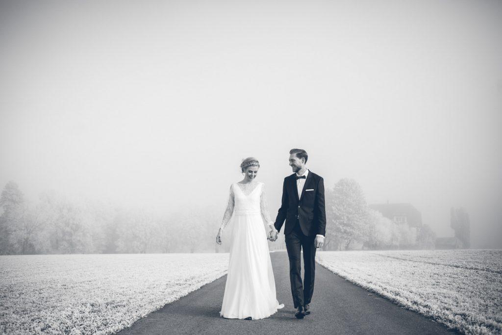 Mariage hiver, photo de couple hiver, mariés hiver, mariage Fribourg